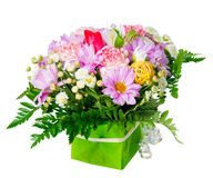 Beautiful bouquet of different flowers is isolated on white back Stock Image