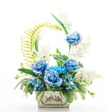 Beautiful bouquet flower in vase. Isolated on white background Royalty Free Stock Photography