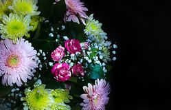 Beautiful bouquet of flowers on black background Stock Image