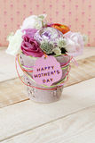 Beautiful bouquet of flowers in a flowerpot for Mother's Day Stock Photo