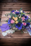 Beautiful bouquet flowers and hearts Royalty Free Stock Photo