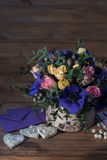 Beautiful bouquet flowers and hearts Stock Image