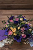 Beautiful bouquet flowers and hearts Royalty Free Stock Photography