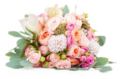 Beautiful bouquet of flowers isolated on white Stock Image
