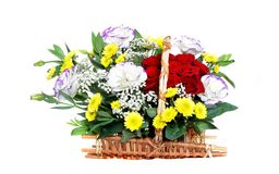 Beautiful bouquet of flowers over white Royalty Free Stock Images