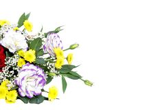 Beautiful bouquet of flowers over white Stock Photography