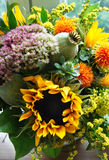 Beautiful bouquet of flowers and sunflowers Royalty Free Stock Images