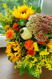 Beautiful bouquet of flowers and sunflowers stock image