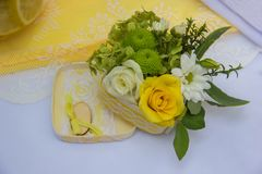 Beautiful bouquet of flowers for the wedding ceremony stock photography