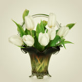 Beautiful bouquet of flowers, white tulips