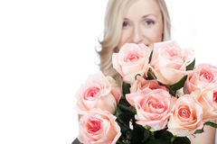 Beautiful bouquet of fresh fragrant pink roses Stock Image