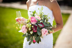 Beautiful bouquet of fresh, odorous roses, the bride, wedding, f Stock Images
