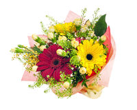 Beautiful bouquet of gerbera, carnations and other flowers. Stock Photography