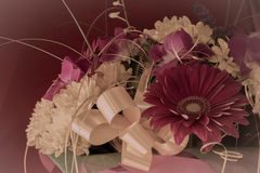 Beautiful bouquet of gerbera flowers and chrysanthemum on a diff Stock Photography