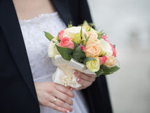 Beautiful bouquet in hand of bride Stock Image