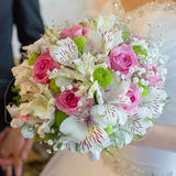 Beautiful bouquet in hand of bride Royalty Free Stock Image