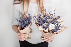 Beautiful bouquet Lavender, cotton, spike with in woman hand . colorful color mix flower.  royalty free stock image