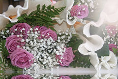 Beautiful bouquet of lilac roses. Royalty Free Stock Image