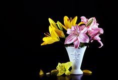 Beautiful bouquet with lilies Royalty Free Stock Photography