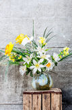 Beautiful bouquet of lilies kall and narcissus Royalty Free Stock Image