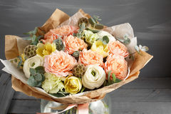 Beautiful bouquet made of different flowers in glass vase. colorful color mix flower. Place for text. copy space Royalty Free Stock Images