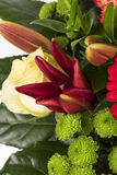 Beautiful bouquet of many colorful flowers with red on the top Royalty Free Stock Photo