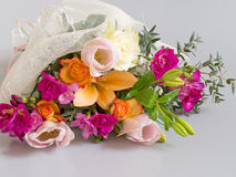 Beautiful bouquet, mixed bright flowers. Special occasion gift. Royalty Free Stock Photo