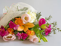 Beautiful bouquet, mixed bright flowers. Special occasion gift. Stock Photos