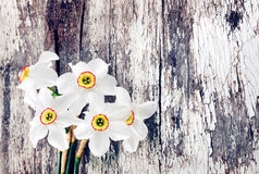 Beautiful bouquet of  narcissuses  on old wooden background Royalty Free Stock Images