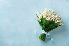 Free Beautiful Bouquet Of Spring Flowers Lily Of The Valley Top View. Mother Day Or Wedding Mockup Concept Stock Photography - 207837022