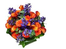 Beautiful bouquet of orange rose and kalas. Stock Photos