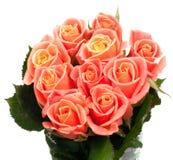 Beautiful bouquet of orange roses. Isolated on white background Stock Photo