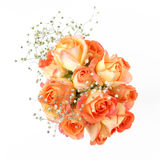 Beautiful bouquet of orange roses on white background. Top view. Stock Photography
