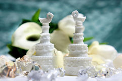 Beautiful bouquet and other wedding decorations Stock Photos
