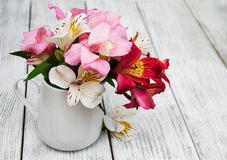 Beautiful bouquet of pink alstroemeria Stock Photography
