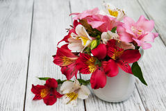 Beautiful bouquet of pink alstroemeria Royalty Free Stock Images