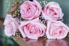 Beautiful bouquet of pink  roses -close up Royalty Free Stock Photo