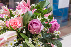 Beautiful bouquet of pink roses Stock Images