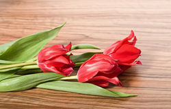 Beautiful bouquet of pink tulips lie on the table Stock Photo