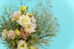 Beautiful bouquet of  pink and yellow flower  with swimming pool Stock Photo