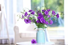 Beautiful bouquet of purple eustoma flowers stock photography