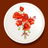 Beautiful bouquet of red poppy on a white plate Stock Images