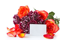 Beautiful bouquet of red roses with carnations stock images