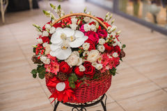 Beautiful bouquet red and white flowers in box Royalty Free Stock Photo