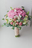 Beautiful bouquet rose and alstroemeria. Stock Photography