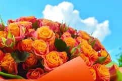 Beautiful bouquet of rose bushes stock photos