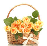Beautiful bouquet of roses in basket Stock Image