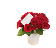 Beautiful Bouquet of Roses With Blank Message Sign Royalty Free Stock Photos