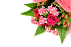 Beautiful bouquet of roses and carnations. Royalty Free Stock Photos