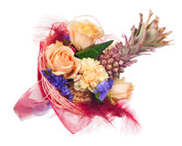 Beautiful bouquet of roses, carnations, decorative pineapple and Royalty Free Stock Images